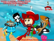 Hick & Hia take a dive in the depths of Vancouver's pacific coast with Vancouver 2010's Miga and Quatchi!