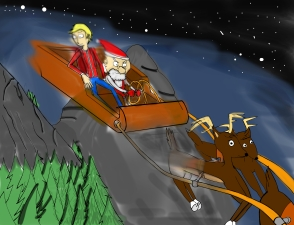 Nick and St. Nicholas on sleigh