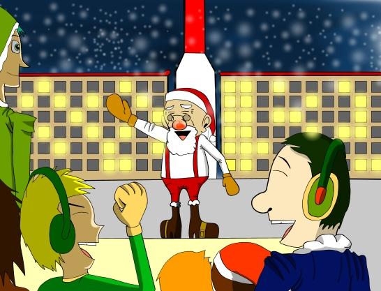 "Saint Nicholas ""Santa"" Claus Sr. celebrates another successful Christmas made possible. © 2017. Akira Takahashi."